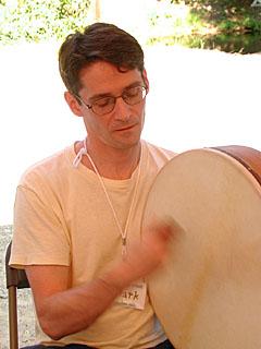 Mark playing bodhran at Ashokan Northern Week 2001